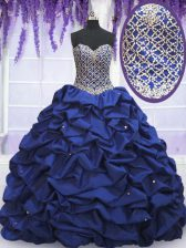 Most Popular Royal Blue Ball Gowns Sweetheart Sleeveless Taffeta Floor Length Lace Up Beading and Pick Ups Quinceanera Dresses