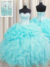 Dramatic Visible Boning Aqua Blue Sleeveless Beading and Ruffles and Pick Ups Floor Length 15 Quinceanera Dress