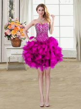 Customized Fuchsia Prom Dress Prom and Party with Beading and Ruffles Sweetheart Sleeveless Lace Up