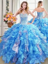 Captivating Sleeveless Organza Floor Length Lace Up Vestidos de Quinceanera in Baby Blue with Beading and Ruffles and Sequins