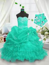 Great Beading and Ruffled Layers and Pick Ups Little Girls Pageant Dress Turquoise Lace Up Sleeveless Floor Length
