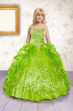 Pick Ups Spaghetti Straps Sleeveless Lace Up Kids Pageant Dress Apple Green Satin
