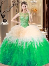Fashion Sleeveless Floor Length Beading and Ruffles Backless Vestidos de Quinceanera with Multi-color