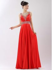 Beading Prom Party Dress Coral Red Zipper Sleeveless Floor Length
