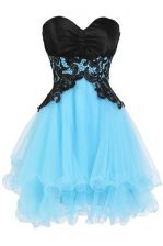 Glorious Blue And Black Sleeveless Appliques Mini Length Prom Dress