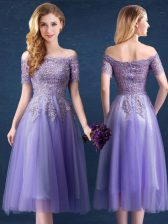 Glamorous Off the Shoulder Lavender Empire Beading and Lace Dama Dress Zipper Tulle Short Sleeves Tea Length