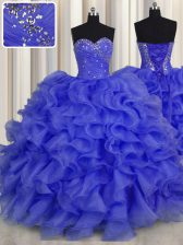 Beading and Ruffles Quince Ball Gowns Royal Blue Lace Up Sleeveless Floor Length