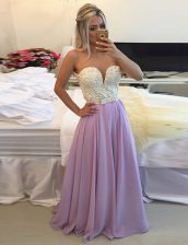 Scoop Floor Length Clasp Handle Prom Gown Lavender for Prom and Party with Ruching
