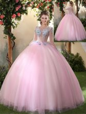 Shining Baby Pink Scoop Lace Up Appliques Quinceanera Dresses Long Sleeves
