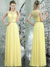 Designer Scoop Chiffon Sleeveless Floor Length Prom Party Dress and Beading and Lace