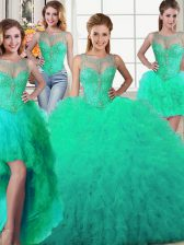 Adorable Four Piece Scoop Turquoise Sleeveless Tulle Lace Up Sweet 16 Dress for Military Ball and Sweet 16 and Quinceanera