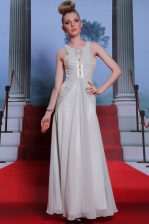 Scoop Chiffon Sleeveless Floor Length Prom Dress and Beading and Appliques and Ruching