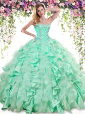 Vintage Apple Green Sweetheart Neckline Beading and Ruffles 15th Birthday Dress Sleeveless Lace Up