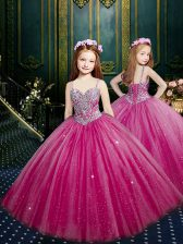 Simple Sleeveless Floor Length Beading and Sequins Lace Up Pageant Gowns For Girls with Fuchsia