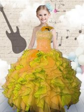 Simple Ball Gowns Pageant Gowns For Girls Orange Strapless Organza Sleeveless Floor Length Lace Up