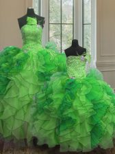 Custom Fit Floor Length Ball Gowns Sleeveless Green Quinceanera Dresses Lace Up