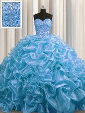 Floor Length Baby Blue Sweet 16 Dresses Organza Court Train Sleeveless Beading and Pick Ups