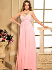 Baby Pink Spaghetti Straps Lace Up Ruching and Bowknot Evening Dress Sleeveless