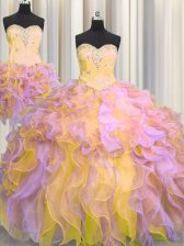 Top Selling Three Piece Multi-color Organza Lace Up Sweetheart Sleeveless Floor Length Ball Gown Prom Dress Beading and Appliques and Ruffles