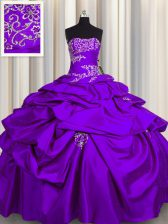 Charming Purple Ball Gowns Taffeta Strapless Sleeveless Appliques and Pick Ups Floor Length Lace Up Quince Ball Gowns