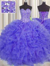 Visible Boning Lavender Organza Lace Up Sweetheart Sleeveless Floor Length Sweet 16 Dresses Beading and Ruffles and Sashes ribbons