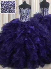 Sleeveless Brush Train Beading and Ruffles Lace Up Sweet 16 Dress