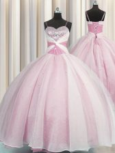 Rose Pink Spaghetti Straps Lace Up Beading and Ruching Quinceanera Gown Sleeveless