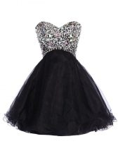 Unique Black A-line Sequins Lace Up Tulle Sleeveless Mini Length