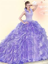 Beading and Ruffles Vestidos de Quinceanera Lavender Backless Sleeveless Brush Train