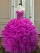 Sleeveless Organza Floor Length Lace Up Quinceanera Dresses in Fuchsia with Beading and Ruffles