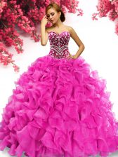 Hot Pink Quinceanera Gown Military Ball and Sweet 16 and Quinceanera with Beading and Ruffles Sweetheart Sleeveless Sweep Train Lace Up