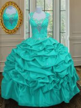 Straps Pick Ups Floor Length Ball Gowns Sleeveless Aqua Blue Quinceanera Dresses Lace Up
