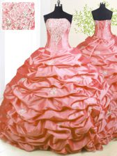Pink Taffeta Lace Up Strapless Sleeveless With Train Quinceanera Gowns Sweep Train Beading and Pick Ups
