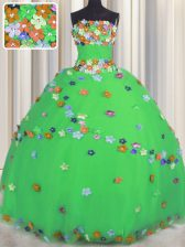 Sleeveless Tulle Floor Length Lace Up 15th Birthday Dress in Green with Hand Made Flower