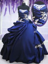 Amazing Taffeta Strapless Sleeveless Lace Up Beading and Lace and Pick Ups 15 Quinceanera Dress in Royal Blue