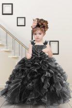 Floor Length Black Little Girls Pageant Dress Straps Sleeveless Lace Up
