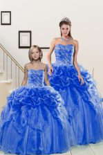 Blue Lace Up Sweetheart Beading and Pick Ups Quinceanera Dresses Organza Sleeveless