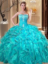 Sweetheart Sleeveless Organza Vestidos de Quinceanera Embroidery and Ruffles Lace Up