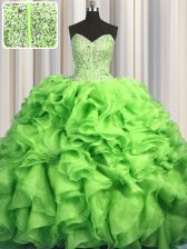 Best Visible Boning Brush Train Beading and Ruffles Quinceanera Dress Green Lace Up Sleeveless With Train Sweep Train