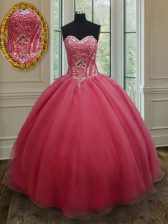 Pink Organza Lace Up Sweetheart Sleeveless Floor Length Vestidos de Quinceanera Beading and Ruching
