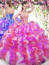 Sweetheart Sleeveless Ball Gown Prom Dress Floor Length Beading and Ruffles Multi-color Organza
