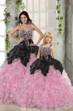 Floor Length Ball Gowns Sleeveless Pink And Black 15 Quinceanera Dress Lace Up