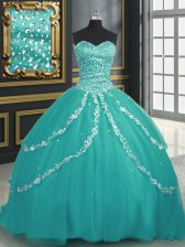Extravagant Sweetheart Sleeveless Sweet 16 Dresses With Brush Train Beading and Appliques Turquoise Tulle