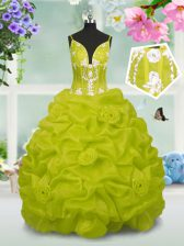 Latest Yellow Green V-neck Neckline Beading and Pick Ups Kids Formal Wear Sleeveless Lace Up