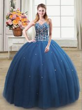 Romantic Tulle Sweetheart Sleeveless Lace Up Beading Quinceanera Gown in Teal