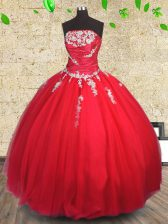 Romantic Strapless Sleeveless Tulle Quinceanera Dresses Appliques and Ruching Lace Up