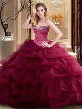 Burgundy Lace Up Sweetheart Beading and Ruffles Ball Gown Prom Dress Tulle Sleeveless