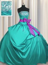 Sleeveless Lace Up Floor Length Beading and Ruching and Bowknot Sweet 16 Quinceanera Dress