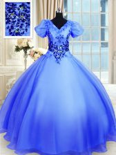 Blue Short Sleeves Floor Length Appliques Lace Up Sweet 16 Dresses