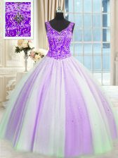 White And Purple Lace Up V-neck Beading and Sequins Quinceanera Dress Tulle Sleeveless